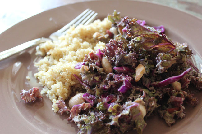 Detox Kale Cabbage & White Bean Salad