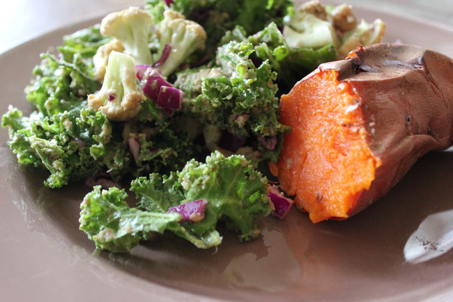 Kale salad with sweet potato