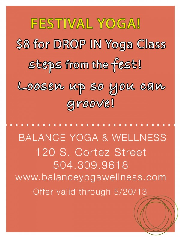 Post image for Festival Special – $8 Drop In Classes!