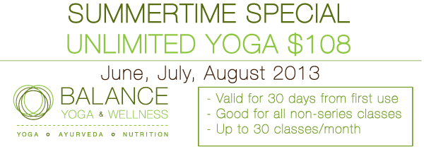 Post image for Summertime Unlimited Yoga $108 per month