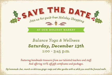 Post image for Save the Date: Holiday Market – Saturday December 13th 1-3:45pm